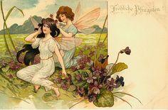 Art Nouveau Fairy 1902 Combs Another Fairy's Hair Vintage Postcards, Vintage Images, Vintage Art, Holiday Postcards, Vintage Prints, Arabian Nights, German Folk, Fairies Photos, Fairy Paintings