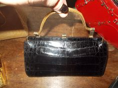 stunning alligator clutch purse with fold down handle stunning condition