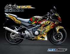 Striping Ninja 150 RR New Hitam Motif SunMoon V2-Rossi Replica -Cutting Sticker Modifikasi Ninja 150 RR