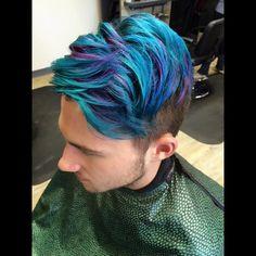 Little Bit Of Peacock Green Colbalt Blue A Pink Men Hair