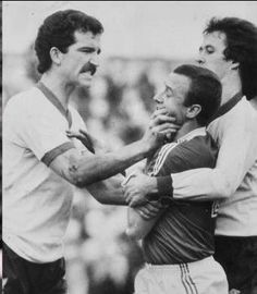 Liverpool's Graeme Souness having a word with Nottingham Forest's John McGovern as Phil Neal intervenes, 1979.