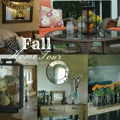 """Little House of Four"": Fall Home Tour. I like the vase with stick and cotton"