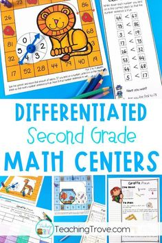 Second grade math centers are perfect for creating differentiated work stations that cover the second grade math standards. Consolidate place value, number sense, time, problem solving, number facts and many more math concepts. Easy prep for you, lots of math fun for your kids. #secondgradecenters #mathcenters
