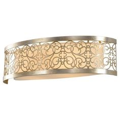 Murray Feiss VS16702-SLP 2 Light Arabesque Bathroom Light, Silver by Murray Feiss. $214.20. Finish:Silver Leaf Patina, Shade:Ivory Linen, Light Bulb:(2)100w A19 Med F Incand Arabesque Two-Light Vanity This collection is predominantly gold in hue with silver highlights.