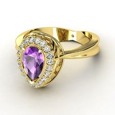Calla Ring Pear Amethyst 14K Yellow Gold Ring with Diamond