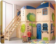 This indoor play house and bunk bed combo makes a great centerpiece for this hip pink and white girls' room. Description from pinterest.com. I searched for this on bing.com/images