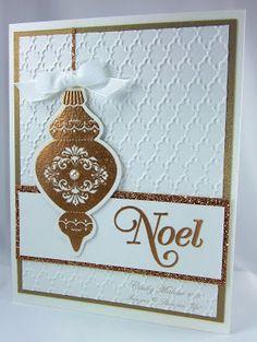 handmde Christmas card ... elegant gold embossed ornament ... shimmery base paper embossed with fan design ... gold glitter paper mat ... Stampin' Up!