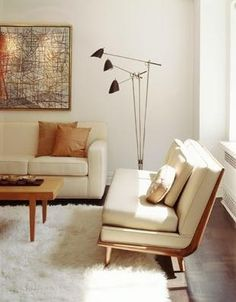 STYLE TIP: A retro statement lamp shakes up a clean modern setting