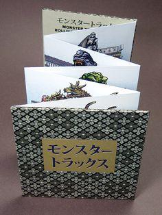 Monster Trucks Accordion Book Kaijus riding in trucks by ChetArt