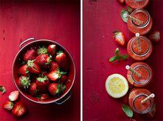 Strawberry-rhubarb-basil smoothie - Creative Still Life Photography