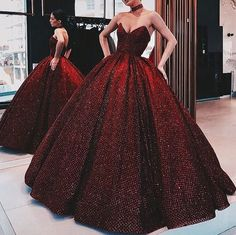 A-Line ELegant Gorgeous Ball Gown, Strapless Modest High Quality Floor-Length Popular Prom Dresses Sequin Prom Dresses, Cheap Prom Dresses, Evening Dresses, Dress Prom, Red Gown Prom, Maroon Prom Dress, Ball Gowns Evening, Dresses Dresses, Evening Party