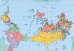 Und die Standard-Weltkarte auf den Kopf gestellt: