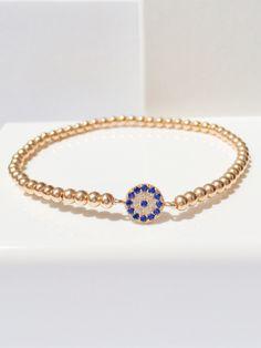 eye bracelet, evil eye bracelet, stretch bracelet, layering bracelet, stacking bracelet, beaded bracelet, silver bracelet by LuckyCharmsUSA on Etsy