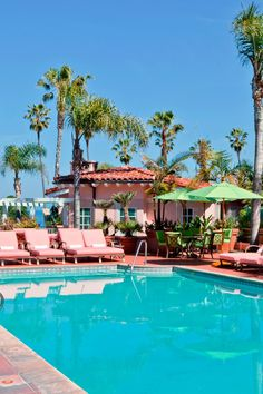 La Jolla is pretty in pink (and blue).  La Valencia Hotel (San Diego, California) - Jetsetter