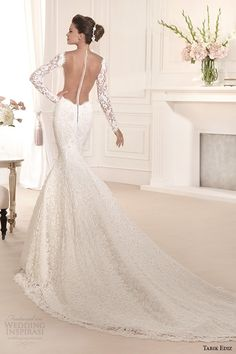 tarik ediz 2014 bridal collection illusion neckline long sleeves mermaid wedding dress back orkide