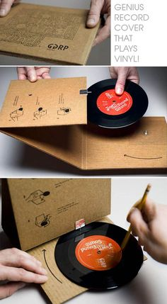 Creative Package Design Vinyl Very clever packaging design concept. It actually plays the record as well. #creativepackaging
