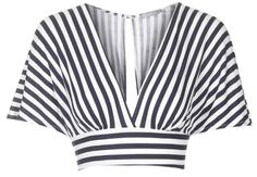 Top marinière court à manche kimono noir et blanc, TopShop