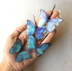 Iridescence - Handmade Cotton and Silk Organza Teal and Blue Shades Butterflies Hair Bobby Pin - 4 pieces by TheButterfliesShop on Etsy