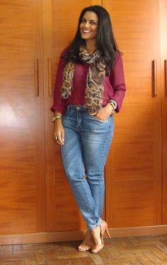 burgundy blouse; jeans pants; animal print scarf
