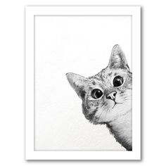 East Urban Home 'Sneaky Cat' Graphic Art Print Size: H x W, Format: White Framed Sneaky Cat, Cat Posters, Art Mural, Cat Drawing, Drawing Ideas, Animal Drawings, Drawing Animals, Pencil Drawings, Crazy Cats