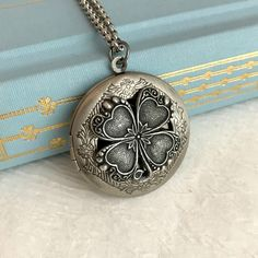 Four Leaf Clover Locket Necklace, silver Irish Ireland lucky charm pendant photo picture antique vintage style Birthday Gift gifts travel by 3BeadDesigns on Etsy https://www.etsy.com/listing/492022784/four-leaf-clover-locket-necklace-silver