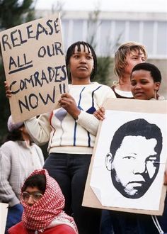 Mandela's daughter Zinzi, center, and other Cape Town University students stage a demonstration on August 1985 demandting the release of jailed ANC activists. Nelson Mandela, New Africa, South Africa, African National Congress, Journey 2, Carthage, Lest We Forget, Greek Words, Great Leaders