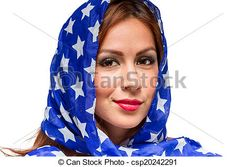 Stock Photo - Patriotic American Female - stock image, images, royalty free photo, stock photos, stock photograph, stock photographs, picture, pictures, graphic, graphics