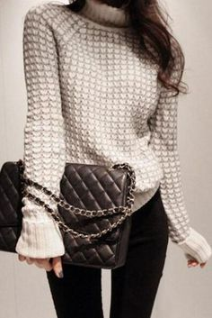 Patchwork High Neck Curled Sleeves Loose Sweater