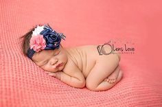 ONLY NAVY SKINNY band available- Coral Pink, Navy and White flower headband, navy nautical headbands, photography prop, coral headbands on Etsy, $13.95