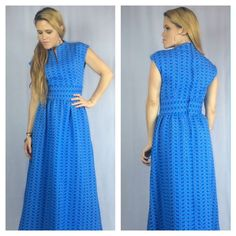 f9209e21283 Vintage 60s Blue Hippie Dress Mod Boho Patterned Full-Length Maxi Small S   BelfrybyGeraldPierce  Maxi