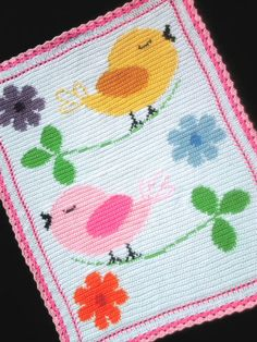 BIRDS-AND-FLOWERS-Color-Graph-Baby-Afghan-Pattern