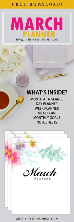 Download your March planner printable today! It's very beautiful! #planner #printables #March