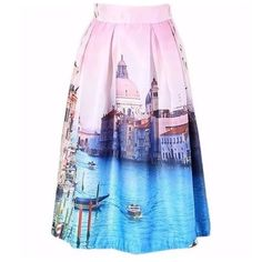 """Pink Watercolor Venice Italy Grand Canal Skirt ‼️PRICE FIRM‼️   Full Scene Skirt Size One Size  Retail $99   SPECTACULAR! Words can not describe how beautiful this skirt is. Beautiful & bold scenes. One size, waistband stretches to fit your waist. Side Zip. Half lined for the full feminine look. 100% polyester with a spandex elastic waistband. Please check my closet for many more items including designer clothing, scarves, jewelry, handbags, shoes & much more.  Waist 25""""-32""""  Length 26""""…"""