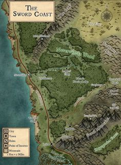 Fantasy Map Making, Fantasy World Map, Dnd World Map, Rpg World, Le Far West, West East, Lost Mines Of Phandelver, Middle Earth Map, Forgotten Realms