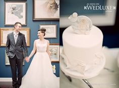 WedLuxe: cute couple + cake