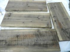 "Age new wood to weathered gray ""driftwood"" look by disolving steel wool in vinegar then using as a stain/wash."