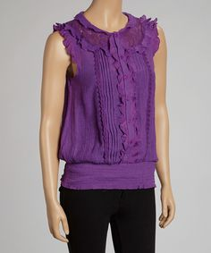 Love this Purple Ruffle Angel-Sleeve Top by Simply Irresistible on #zulily! #zulilyfinds