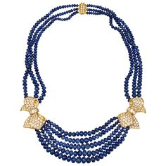 Boucheron Sapphire Bead Diamond Bow Necklace   From a unique collection of vintage multi-strand necklaces at https://www.1stdibs.com/jewelry/necklaces/multi-strand-necklaces/