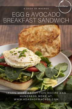 Who doesn't love a good breakfast sandwich? I know I crave them from time to time. If you enjoy a good breakfast sandwich, you have got to give this Easy Egg and Avocado Breakfast Sandwich a try. ⁠ ⁠ The combination of the slightly runny yoke, with the creamy avocado, and the crisp baby kale is like heaven in your mouth. Oh, and don't forget about that toasted ciabatta bread….YES PLEASE!⁠ ⁠ EGG Best Breakfast Sandwich, Avocado Breakfast, Brunch Recipes, Bread Recipes, Breakfast Recipes, Avocado Sandwich Recipes, Healthy Breakfast Meal Prep, Ciabatta, Macros
