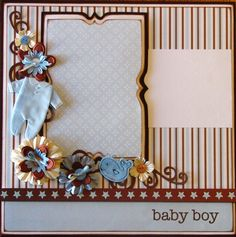 baby boy scrapbook page layout ideas | Baby Boy 12x12 Layout Pre Made Scrapbook Page by theavidscrapper