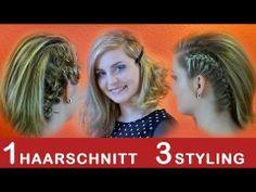 1 Haarschnitt  3 Styling 3 Stylings Tipps  für Asymmetrischer Haarschnitt  Bob Alltag, Schule, Uni, Arbeit, Festliche Frisur