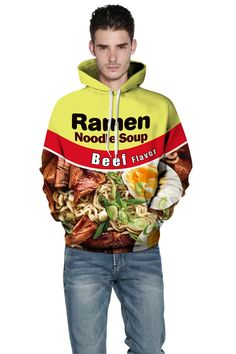 Yellow hoodie with beef Ramen 3D digital print Men's hooded sweatshirt – menlivestyle Printed Hoodies, Yellow Hoodie, Hooded Sweater, Cargo Pants, Ramen, Hooded Sweatshirts, Christmas Sweaters, Hoods, Digital Prints