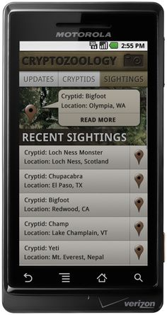 Cryptozoology for Android - UI Concept