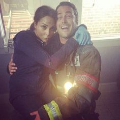 Monica Raymund and Taylor Kinney Chicago Fire