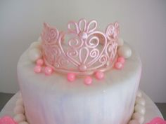 Princess Cake - Gumpaste tiara painted with pink sheen airbrush color.