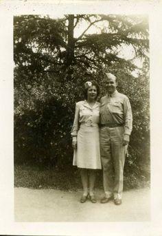 Lemuel and Richard Dawsey, married in Atlanta, 1945. She wears an ANC beige summer off-duty dress with matching garrison cap ~