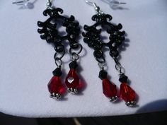 Vampire Blood Gothic Earrings by KukoCreations on Etsy, $18.00