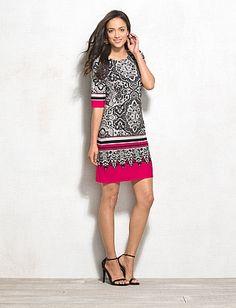 Bordered Statement Print Dress -- love the bold pop of pink!