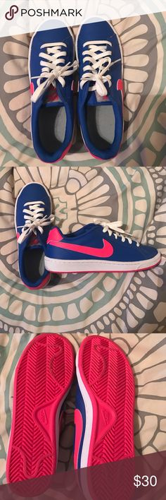 Nike size 7 sneakers Hot pink and blue Nike sneakers, size 7, worn once, basically brand new! Nike Shoes Athletic Shoes