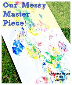 Messy Summer Outdoor Creative Fun - Feet Painting or Printing - Our Little House in the Country
